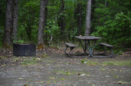 Campsite amenitiesEach campsite comes with a picnic table and fire ring.