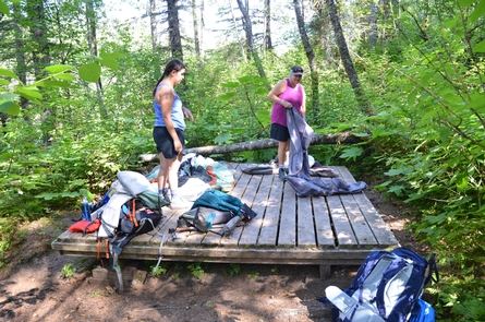 Tent sitesAll six sites at Finnegan's Point Campground have raised, wooden platforms.