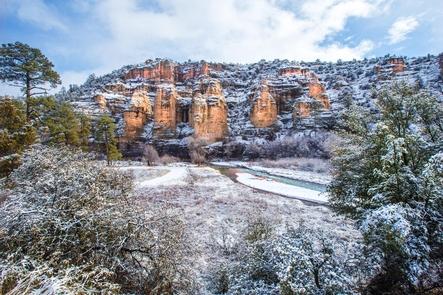 Gila National Forest Approach to Gila National Monument in WinterWinter wonderland along the Gila River
